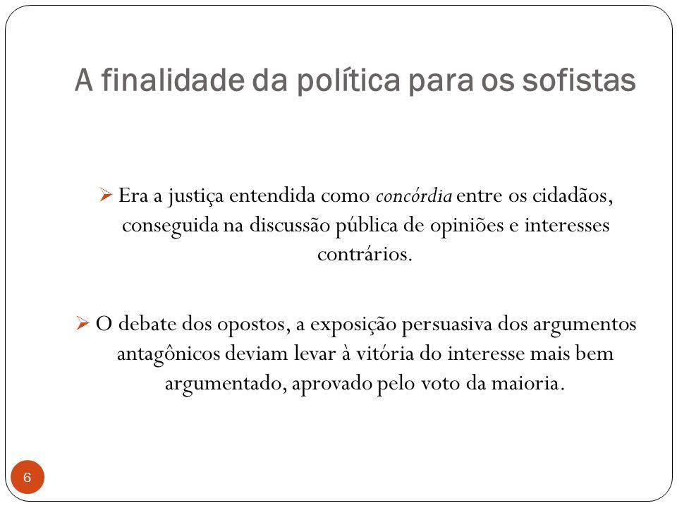 A finalidade da política para os sofistas Era a justiça entendida como concórdia entre os cidadãos, conseguida na discussão pública de opiniões e inte