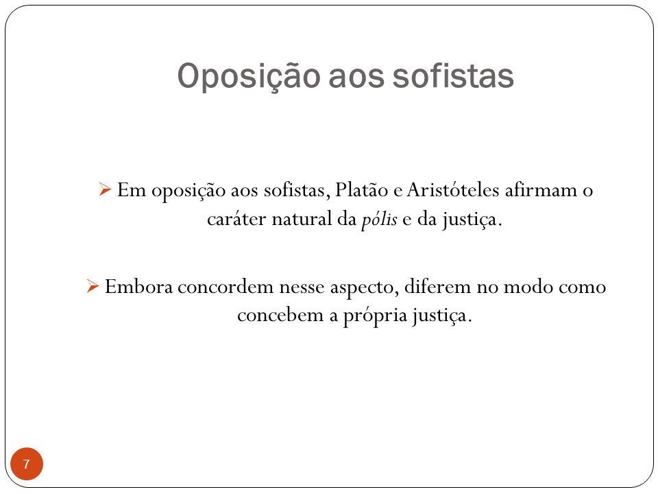 Oposição aos sofistas Em oposição aos sofistas, Platão e Aristóteles afirmam o caráter natural da pólis e da justiça. Embora concordem nesse aspecto,