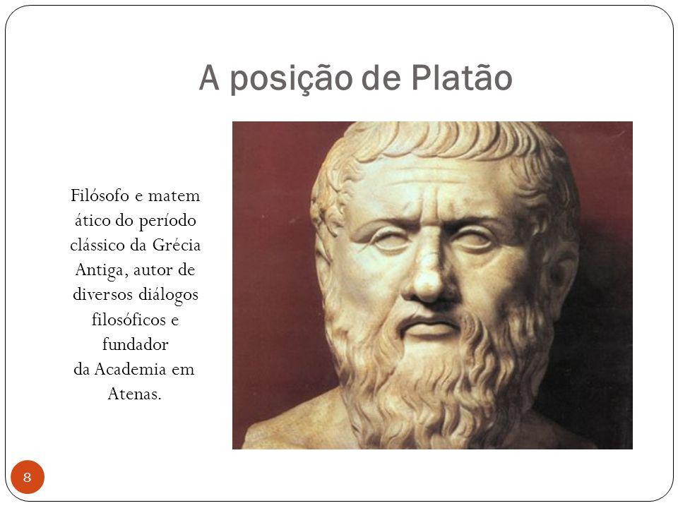 A posição de Platão Filósofo e matem ático do período clássico da Grécia Antiga, autor de diversos diálogos filosóficos e fundador da Academia em Aten