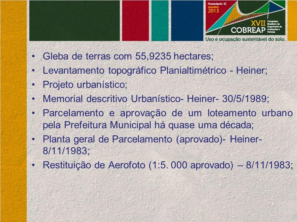Gleba de terras com 55,9235 hectares; Levantamento topográfico Planialtimétrico - Heiner; Projeto urbanístico; Memorial descritivo Urbanístico- Heiner- 30/5/1989; Parcelamento e aprovação de um loteamento urbano pela Prefeitura Municipal há quase uma década; Planta geral de Parcelamento (aprovado)- Heiner- 8/11/1983; Restituição de Aerofoto (1:5.