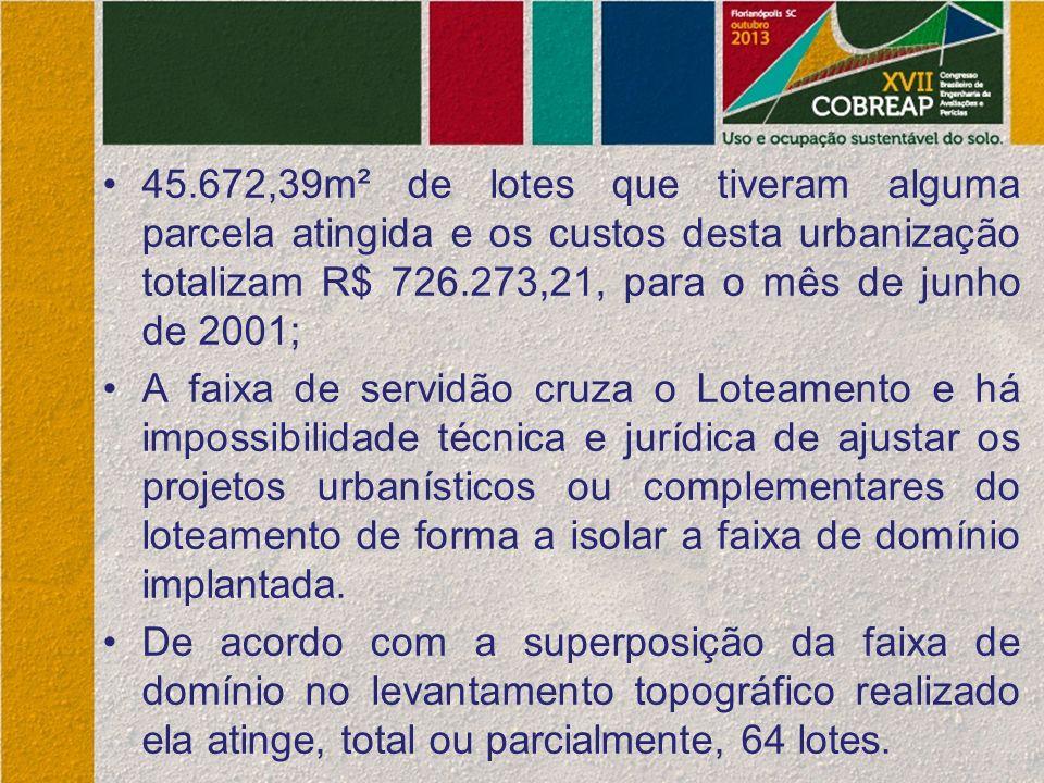 45.672,39m² de lotes que tiveram alguma parcela atingida e os custos desta urbanização totalizam R$ 726.273,21, para o mês de junho de 2001; A faixa d