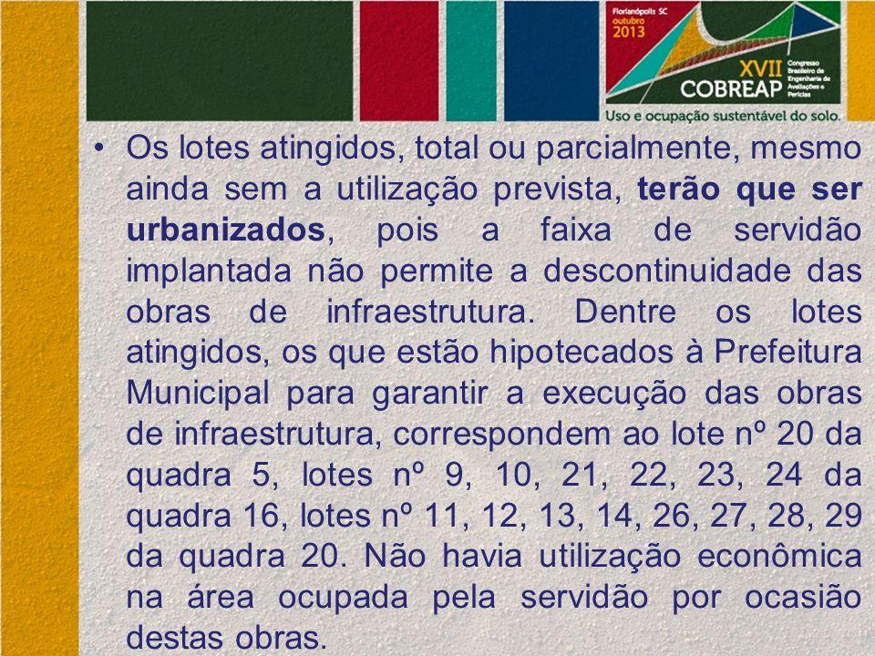 Os lotes atingidos, total ou parcialmente, mesmo ainda sem a utilização prevista, terão que ser urbanizados, pois a faixa de servidão implantada não permite a descontinuidade das obras de infraestrutura.