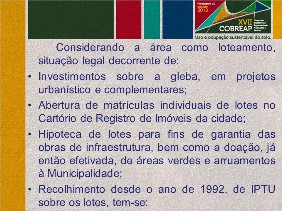 Considerando a área como loteamento, situação legal decorrente de: Investimentos sobre a gleba, em projetos urbanístico e complementares; Abertura de