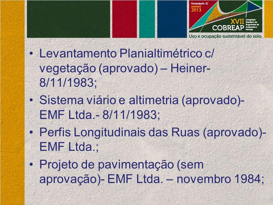 Levantamento Planialtimétrico c/ vegetação (aprovado) – Heiner- 8/11/1983; Sistema viário e altimetria (aprovado)- EMF Ltda.- 8/11/1983; Perfis Longit
