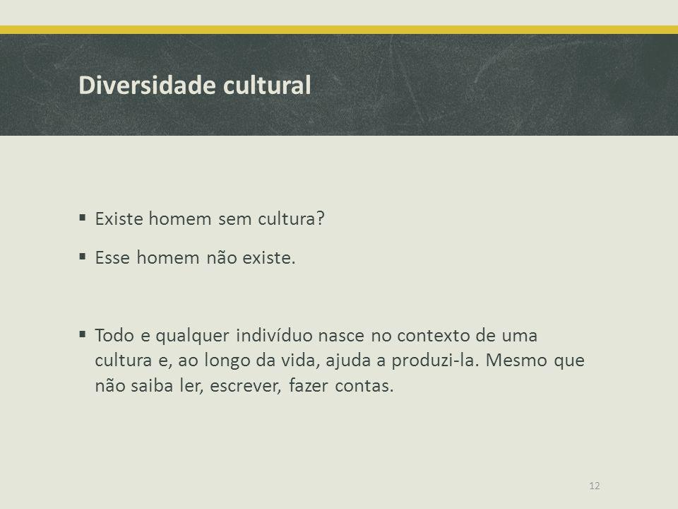 Diversidade cultural Existe homem sem cultura? Esse homem não existe. Todo e qualquer indivíduo nasce no contexto de uma cultura e, ao longo da vida,