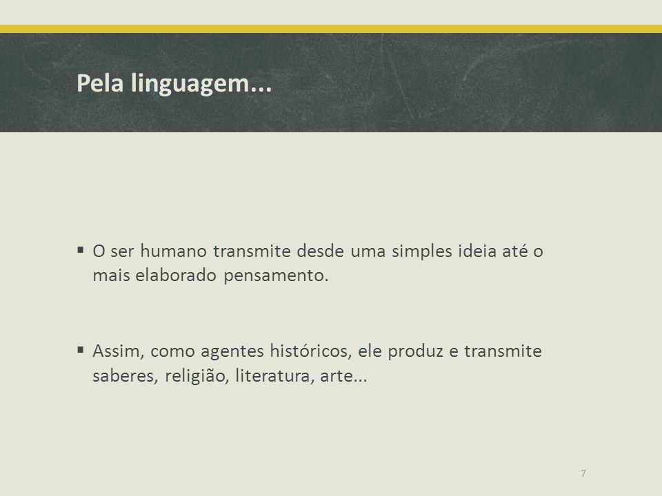 Pela linguagem... O ser humano transmite desde uma simples ideia até o mais elaborado pensamento. Assim, como agentes históricos, ele produz e transmi
