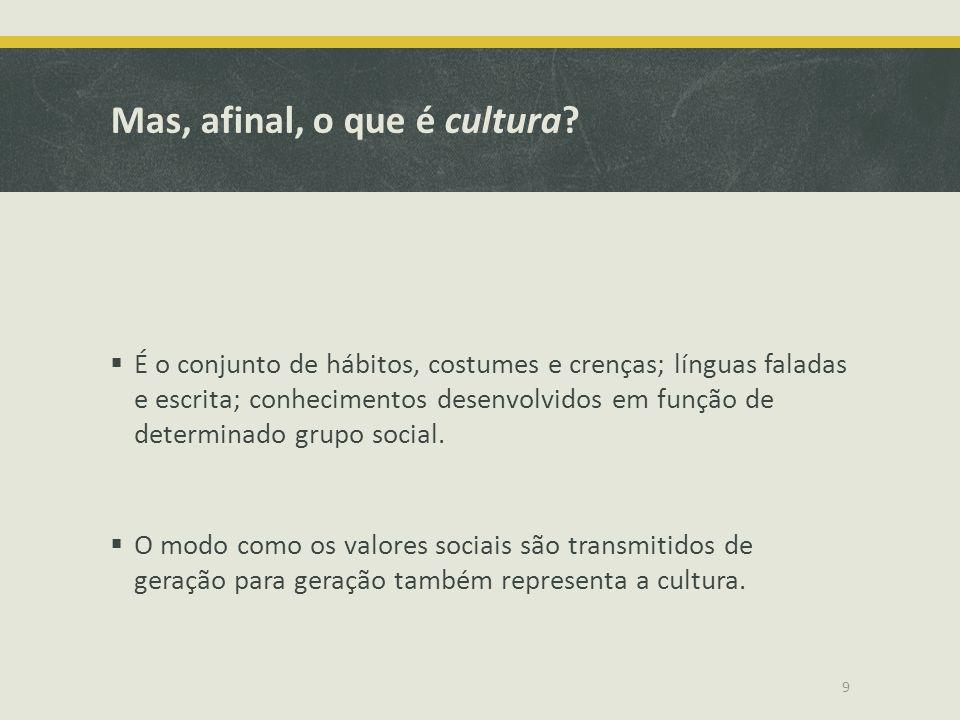 Mas, afinal, o que é cultura? É o conjunto de hábitos, costumes e crenças; línguas faladas e escrita; conhecimentos desenvolvidos em função de determi