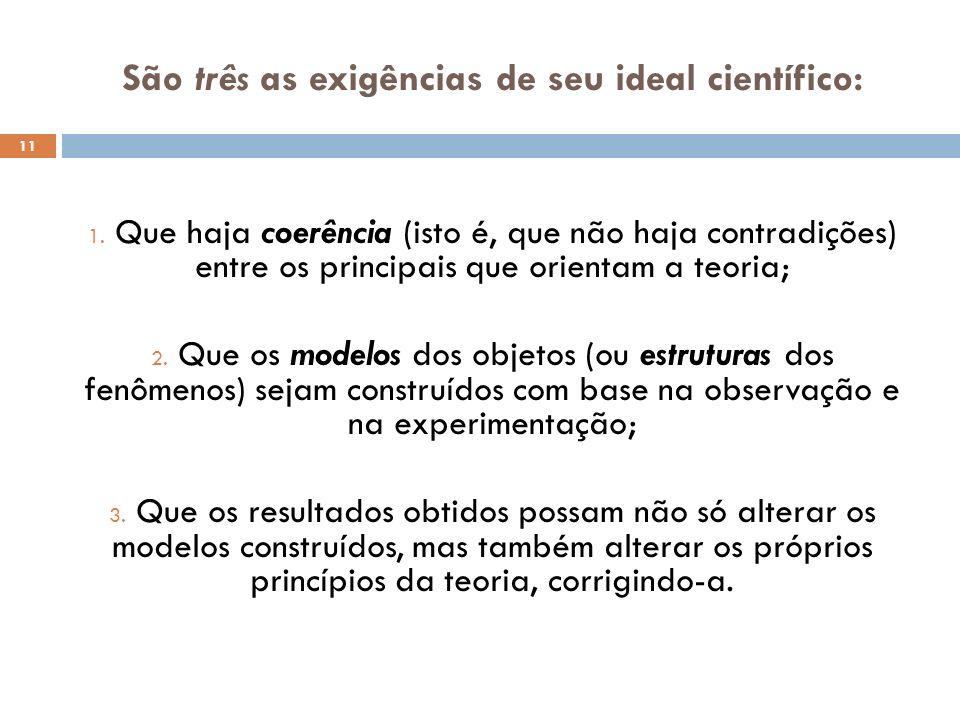 São três as exigências de seu ideal científico: 11 1. Que haja coerência (isto é, que não haja contradições) entre os principais que orientam a teoria