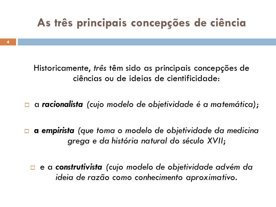 As três principais concepções de ciência Historicamente, três têm sido as principais concepções de ciências ou de ideias de cientificidade: a racional