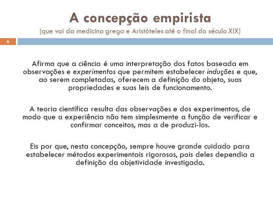 A concepção empirista (que vai da medicina grega e Aristóteles até o final do século XIX) Afirma que a ciência é uma interpretação dos fatos baseada e