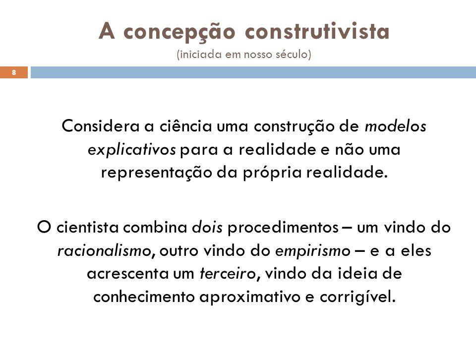 A concepção construtivista (iniciada em nosso século) Considera a ciência uma construção de modelos explicativos para a realidade e não uma representa