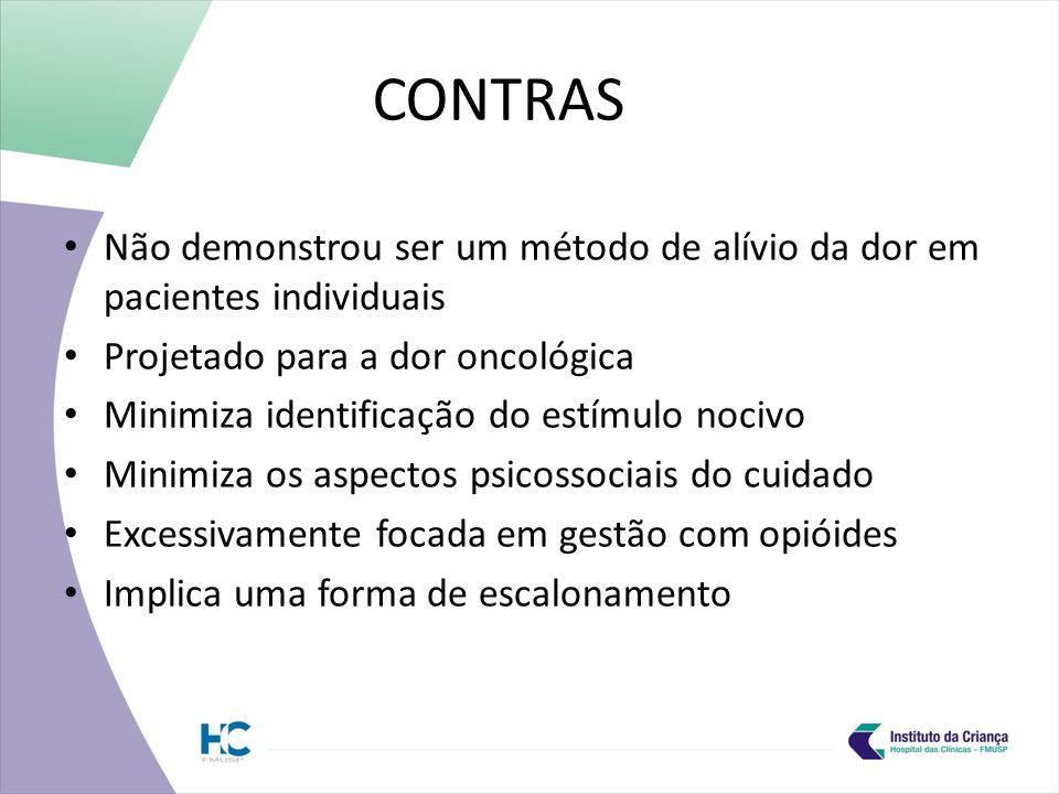 CONTRAS Não demonstrou ser um método de alívio da dor em pacientes individuais Projetado para a dor oncológica Minimiza identificação do estímulo nocivo Minimiza os aspectos psicossociais do cuidado Excessivamente focada em gestão com opióides Implica uma forma de escalonamento
