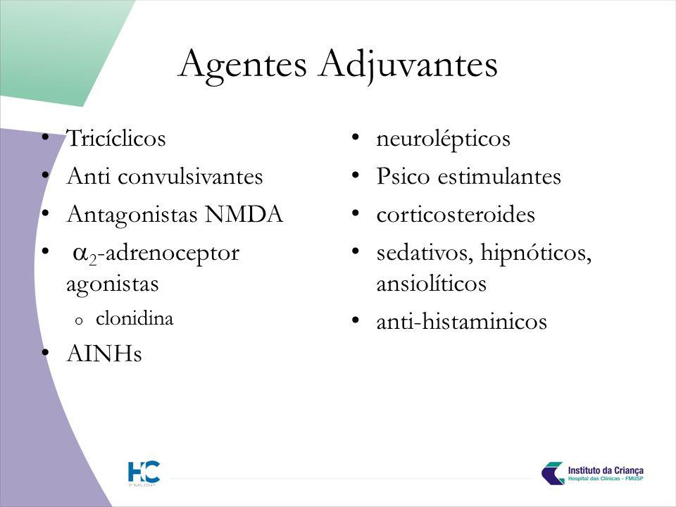 Agentes Adjuvantes Tricíclicos Anti convulsivantes Antagonistas NMDA 2 -adrenoceptor agonistas o clonidina AINHs neurolépticos Psico estimulantes corticosteroides sedativos, hipnóticos, ansiolíticos anti-histaminicos