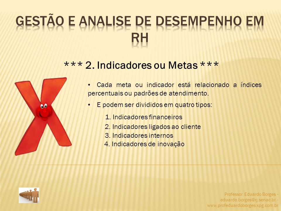 Professor Eduardo Borges - eduardo.borges@rj.senac.br - www.profeduardoborges.xpg.com.br *** 2. Indicadores ou Metas *** Cada meta ou indicador está r