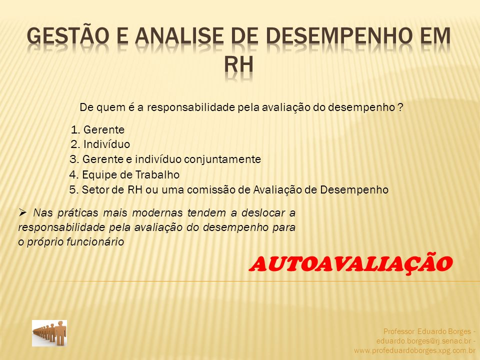Professor Eduardo Borges - eduardo.borges@rj.senac.br - www.profeduardoborges.xpg.com.br De quem é a responsabilidade pela avaliação do desempenho ? 1