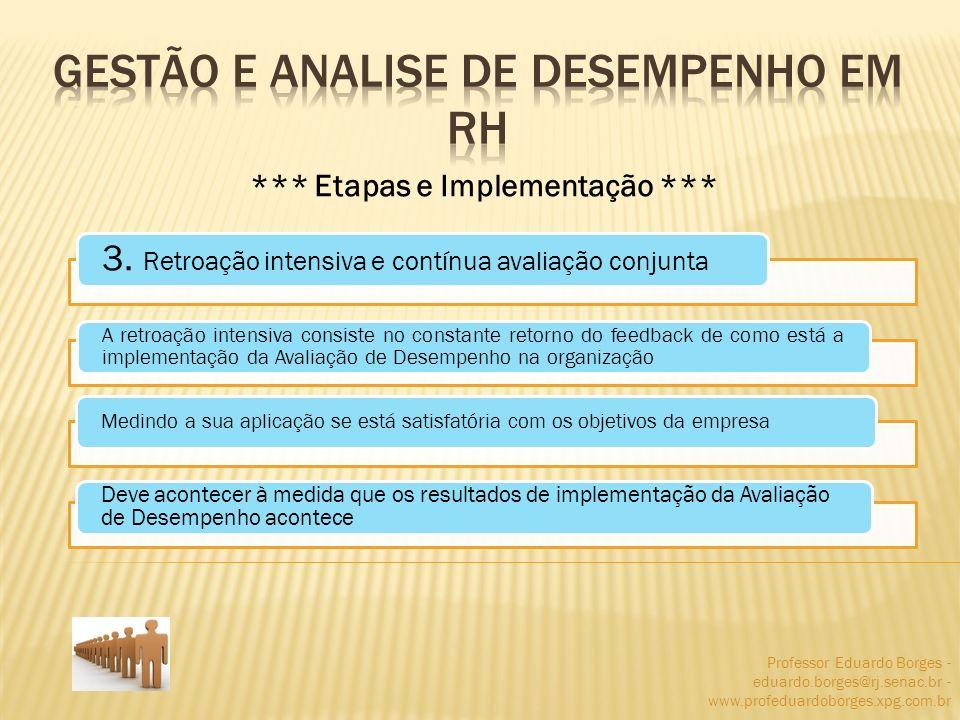Professor Eduardo Borges - eduardo.borges@rj.senac.br - www.profeduardoborges.xpg.com.br *** Etapas e Implementação *** 3. Retroação intensiva e contí