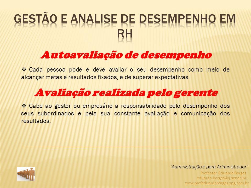 Professor Eduardo Borges - eduardo.borges@rj.senac.br - www.profeduardoborges.xpg.com.br Cada pessoa pode e deve avaliar o seu desempenho como meio de