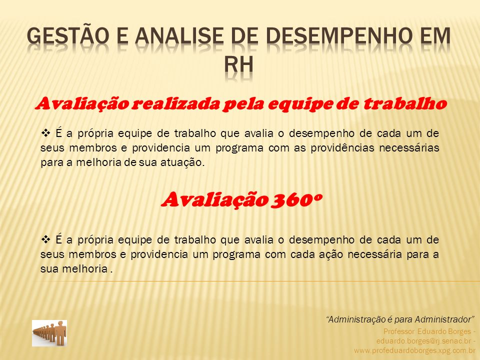 Professor Eduardo Borges - eduardo.borges@rj.senac.br - www.profeduardoborges.xpg.com.br É a própria equipe de trabalho que avalia o desempenho de cad