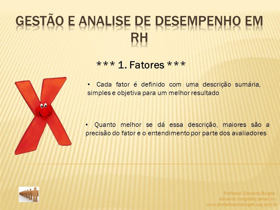 Professor Eduardo Borges - eduardo.borges@rj.senac.br - www.profeduardoborges.xpg.com.br *** 1. Fatores *** Cada fator é definido com uma descrição su