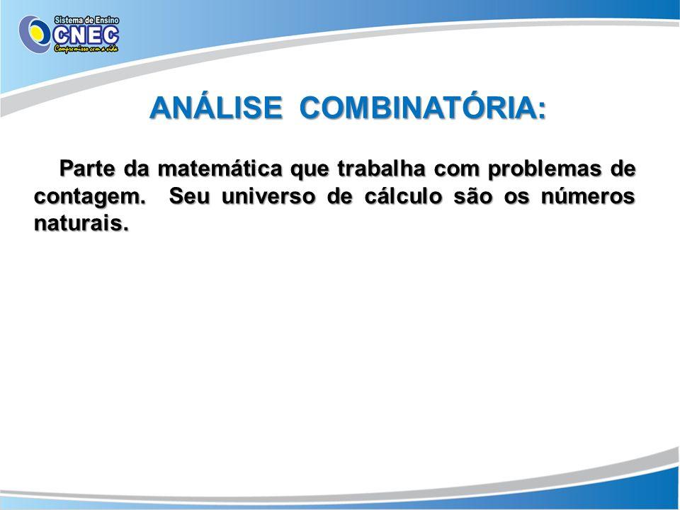 ANÁLISE COMBINATÓRIA: Parte da matemática que trabalha com problemas de contagem.