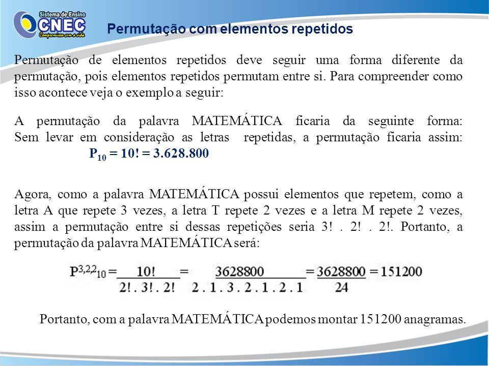 Permutação de elementos repetidos deve seguir uma forma diferente da permutação, pois elementos repetidos permutam entre si.