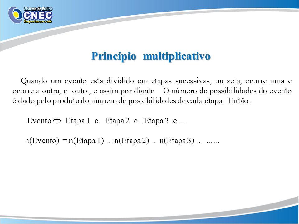 Princípio multiplicativo Quando um evento esta dividido em etapas sucessivas, ou seja, ocorre uma e ocorre a outra, e outra, e assim por diante.