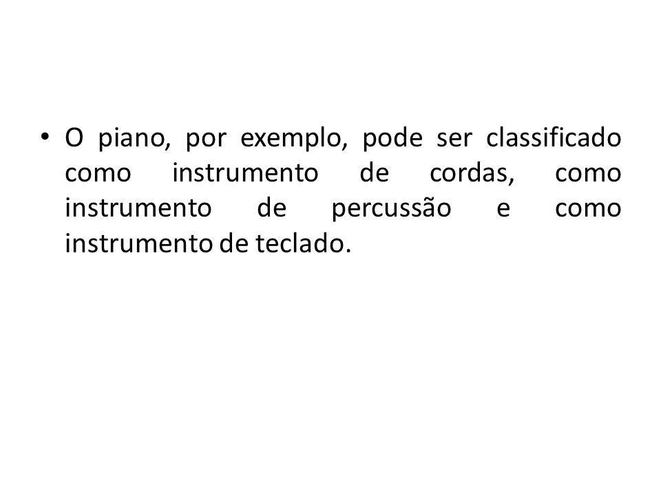 Instrumentos de sopro – dois grupos: a) sopros de madeira – são divididos em três tipos: embocadura livre (flauta), palheta simples (clarinete, saxofone), palheta dupla (oboé, corne inglês, fagote) b) sopros de metal – são divididos em três tipos: instrumentos de vara (trombone); instrumentos de válvula rotatória (trompa), instrumentos de pistão (trompete)