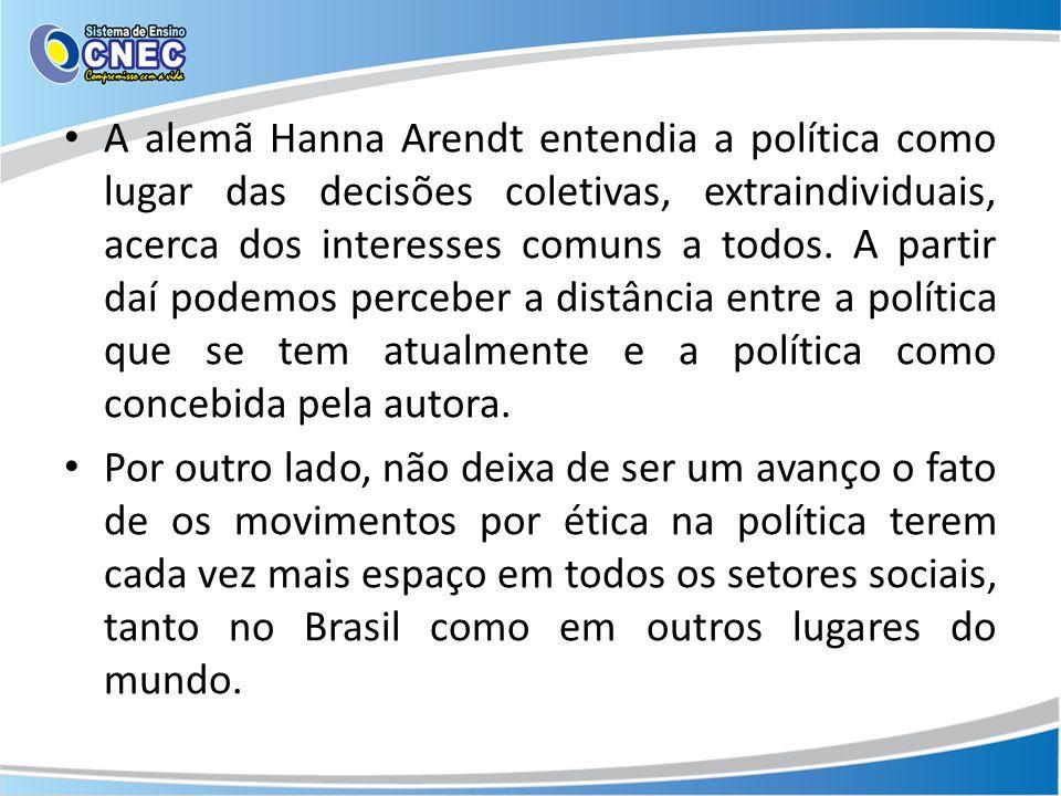A alemã Hanna Arendt entendia a política como lugar das decisões coletivas, extraindividuais, acerca dos interesses comuns a todos.