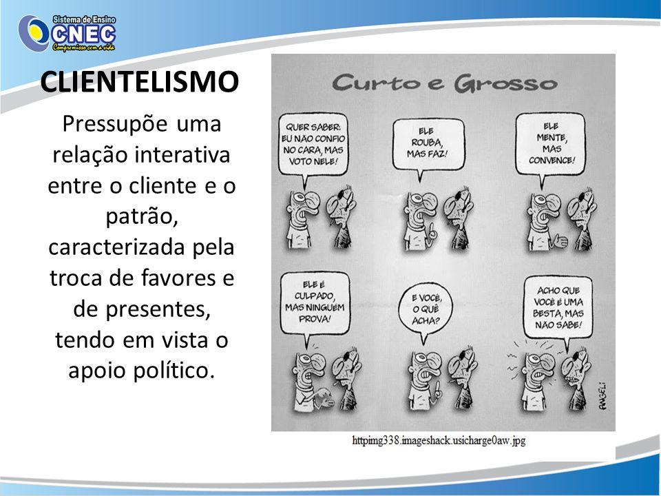 CLIENTELISMO Pressupõe uma relação interativa entre o cliente e o patrão, caracterizada pela troca de favores e de presentes, tendo em vista o apoio político.
