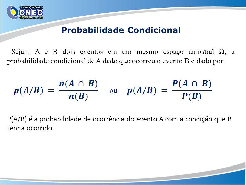 Probabilidade Condicional Sejam A e B dois eventos em um mesmo espaço amostral Ω, a probabilidade condicional de A dado que ocorreu o evento B é dado