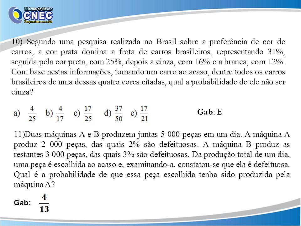 10) Segundo uma pesquisa realizada no Brasil sobre a preferência de cor de carros, a cor prata domina a frota de carros brasileiros, representando 31%