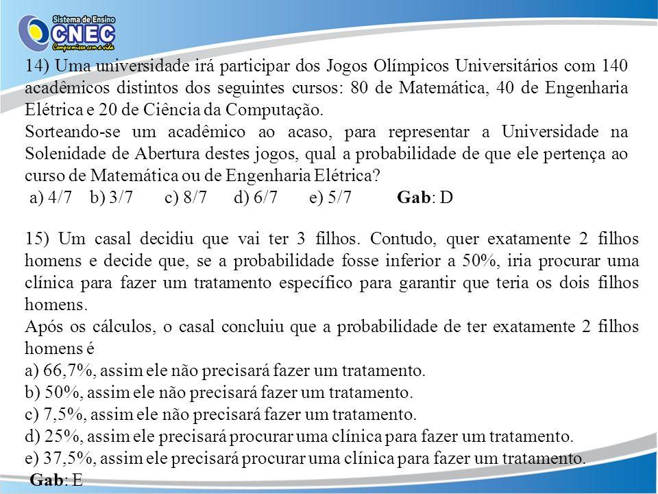 14) Uma universidade irá participar dos Jogos Olímpicos Universitários com 140 acadêmicos distintos dos seguintes cursos: 80 de Matemática, 40 de Enge