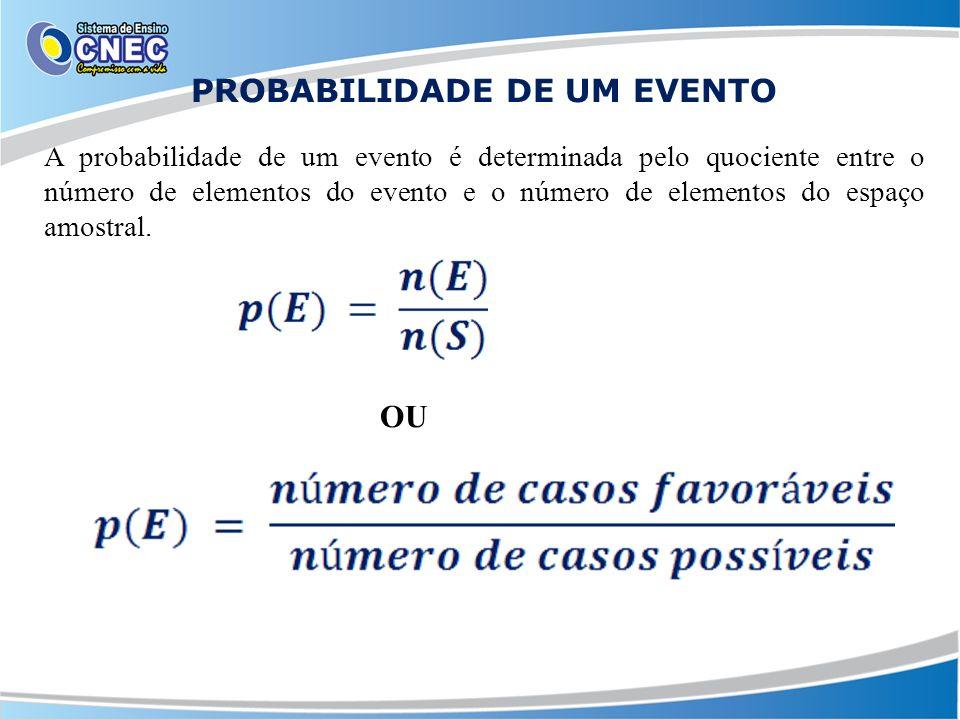 PROBABILIDADE DE UM EVENTO A probabilidade de um evento é determinada pelo quociente entre o número de elementos do evento e o número de elementos do