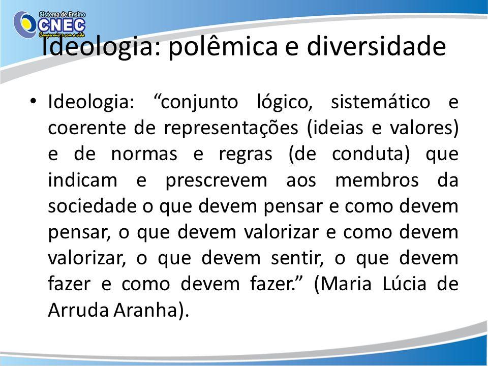 Ideologia: polêmica e diversidade Ideologia: conjunto lógico, sistemático e coerente de representações (ideias e valores) e de normas e regras (de con