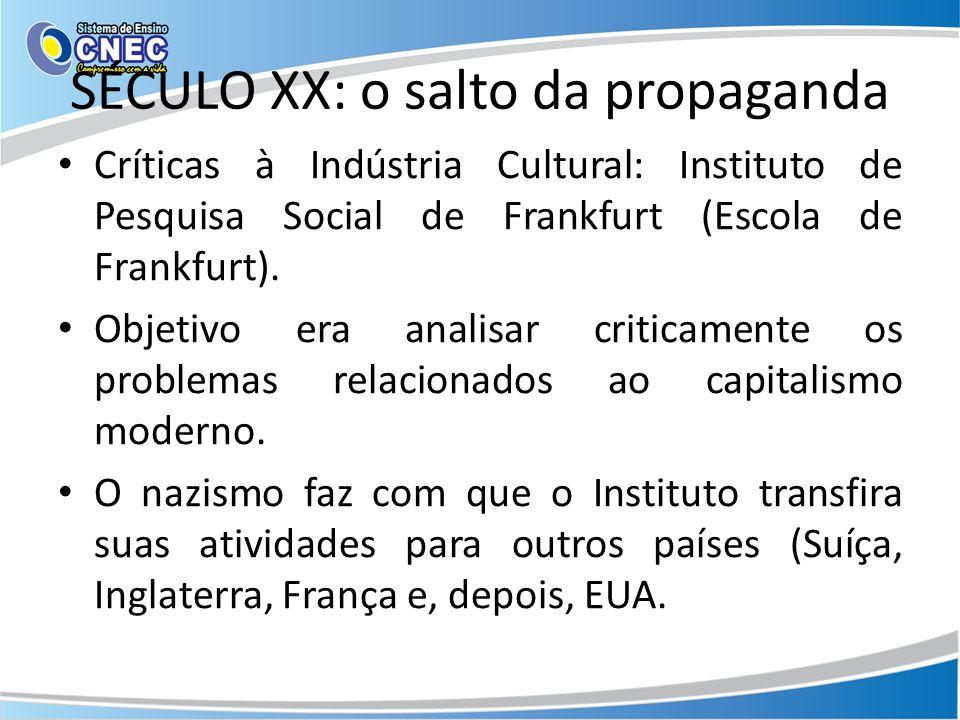 SÉCULO XX: o salto da propaganda Críticas à Indústria Cultural: Instituto de Pesquisa Social de Frankfurt (Escola de Frankfurt). Objetivo era analisar