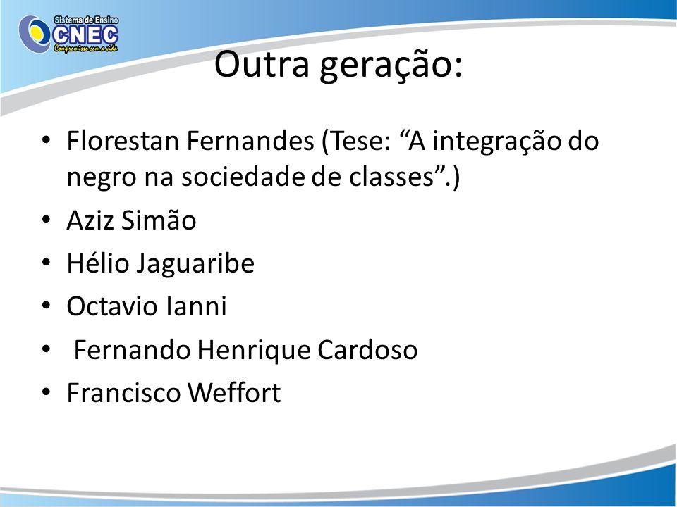 Outra geração: Florestan Fernandes (Tese: A integração do negro na sociedade de classes.) Aziz Simão Hélio Jaguaribe Octavio Ianni Fernando Henrique C
