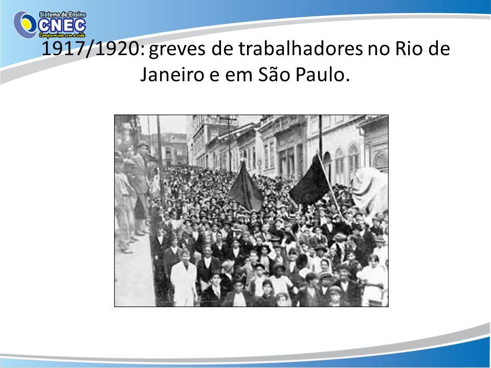 1917/1920: greves de trabalhadores no Rio de Janeiro e em São Paulo.