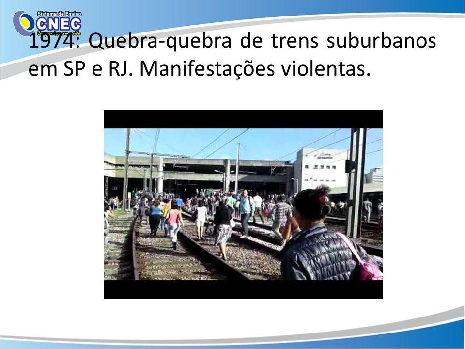 1974: Quebra-quebra de trens suburbanos em SP e RJ. Manifestações violentas.