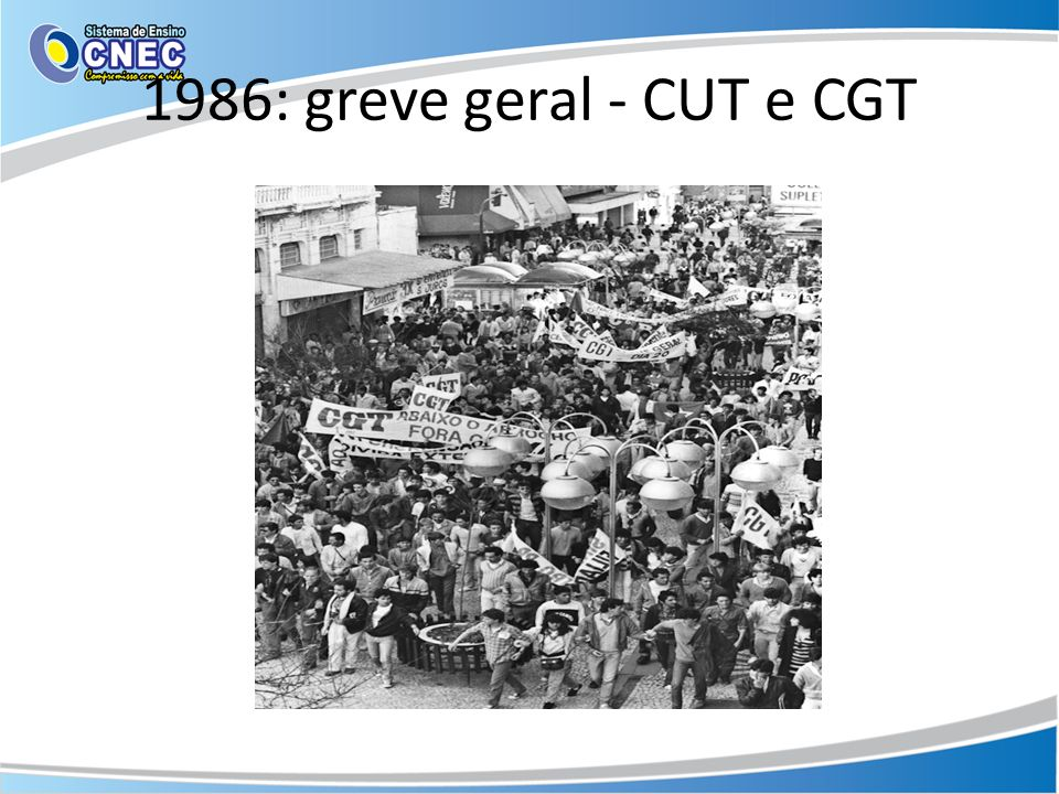1986: greve geral - CUT e CGT