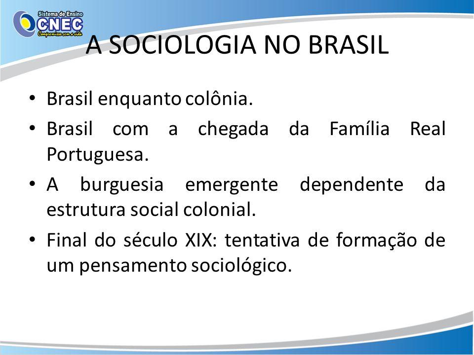 Brasil enquanto colônia. Brasil com a chegada da Família Real Portuguesa. A burguesia emergente dependente da estrutura social colonial. Final do sécu