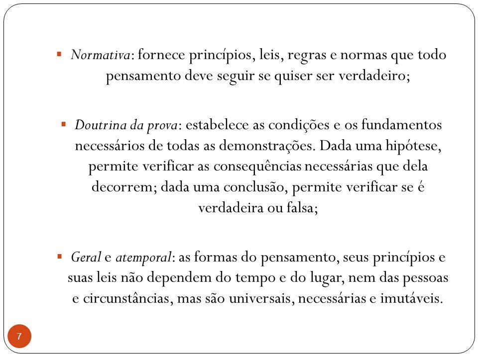 Normativa: fornece princípios, leis, regras e normas que todo pensamento deve seguir se quiser ser verdadeiro; Doutrina da prova: estabelece as condiç
