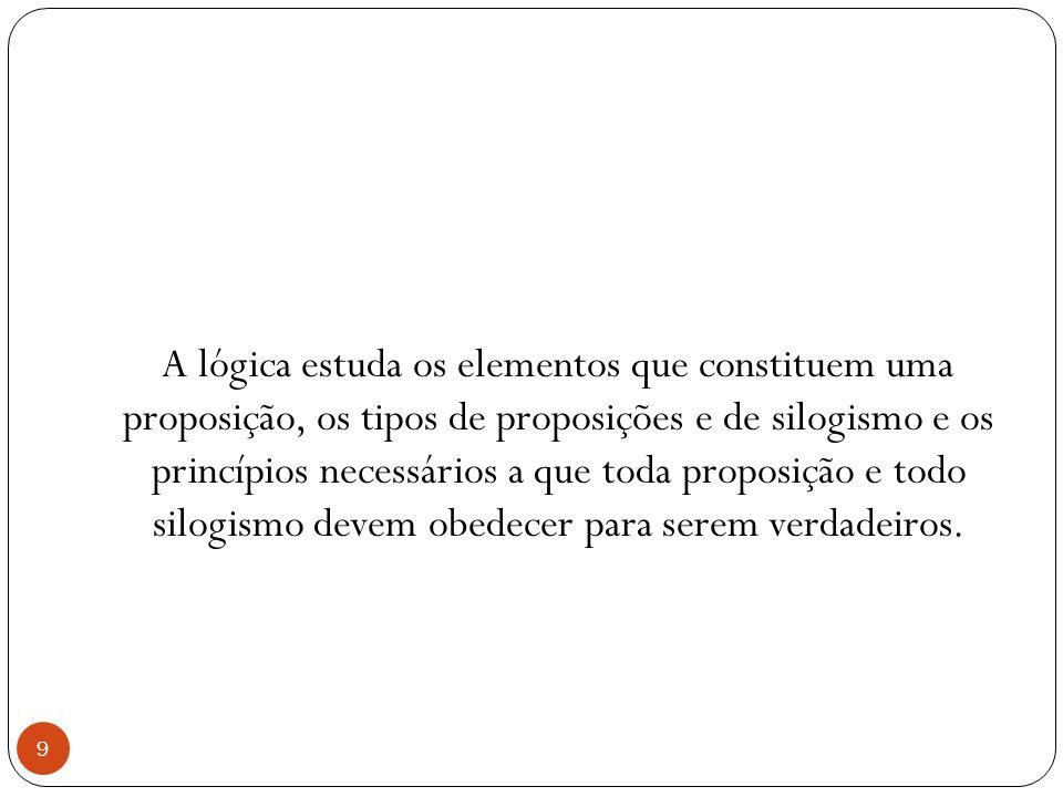 A lógica estuda os elementos que constituem uma proposição, os tipos de proposições e de silogismo e os princípios necessários a que toda proposição e