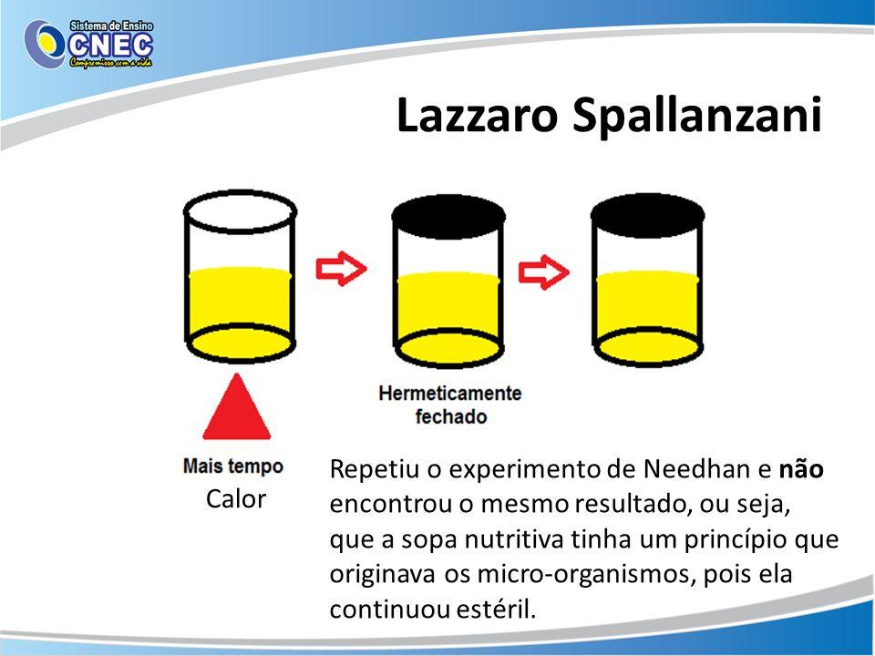 Lazzaro Spallanzani Calor Repetiu o experimento de Needhan e não encontrou o mesmo resultado, ou seja, que a sopa nutritiva tinha um princípio que ori