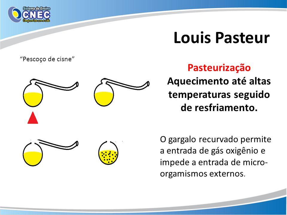 Louis Pasteur Pescoço de cisne Pasteurização Aquecimento até altas temperaturas seguido de resfriamento. O gargalo recurvado permite a entrada de gás