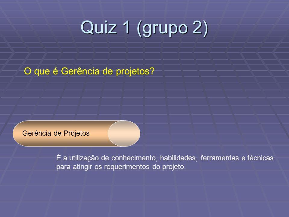 Quiz 1 (grupo 2) O que é Gerência de projetos.