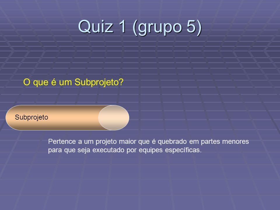 Quiz 1 (grupo 5) O que é um Subprojeto.