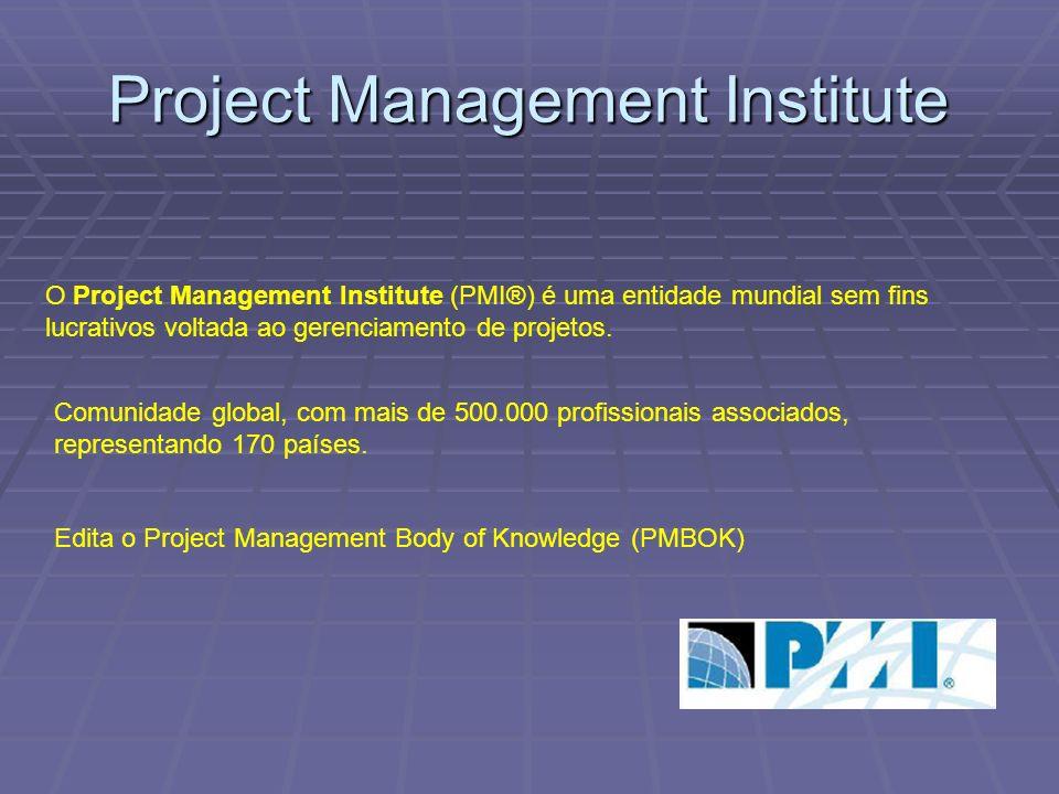 O Project Management Institute (PMI®) é uma entidade mundial sem fins lucrativos voltada ao gerenciamento de projetos.