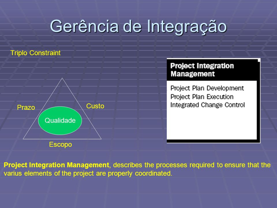 Project Integration Management, describes the processes required to ensure that the varius elements of the project are properly coordinated. Qualidade