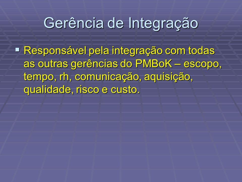 Gerência de Integração Responsável pela integração com todas as outras gerências do PMBoK – escopo, tempo, rh, comunicação, aquisição, qualidade, risco e custo.