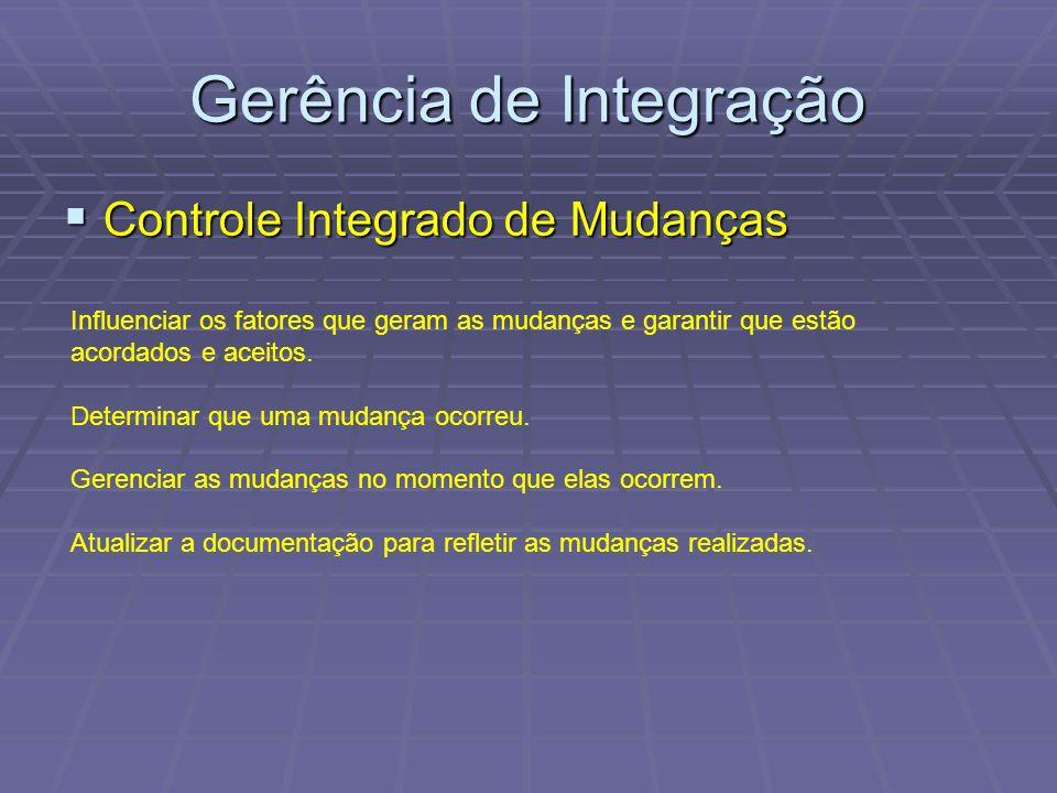 Gerência de Integração Controle Integrado de Mudanças Controle Integrado de Mudanças Influenciar os fatores que geram as mudanças e garantir que estão acordados e aceitos.